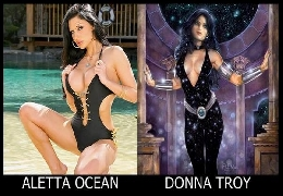 Adult female stars as a comic characters