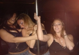 Drunk girls in pole for strippers